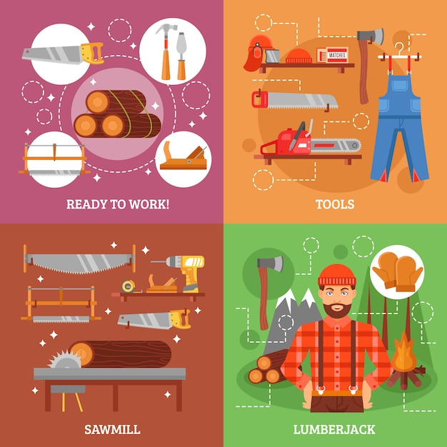 Lumberjack and tools for working wood Premium Vector