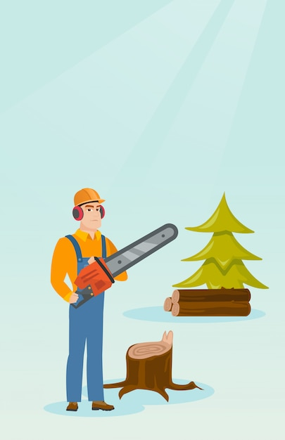 Lumberjack with chainsaw vector illustration. Premium Vector