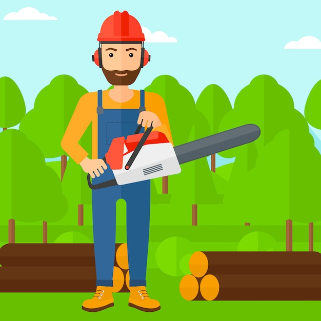 Lumberjack with chainsaw. Premium Vector