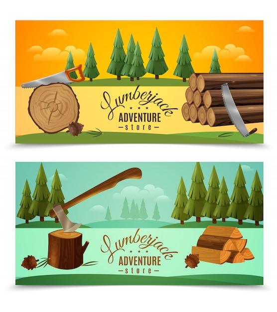 Lumberjack woodcutter horizontal banners set Free Vector