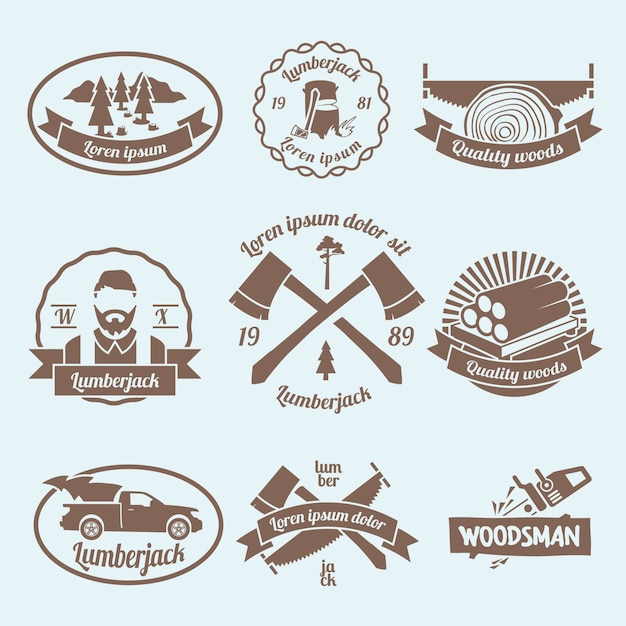 Lumberjack woodcutter labels set with carpentry tools and materials isolated vector illustration Free Vector