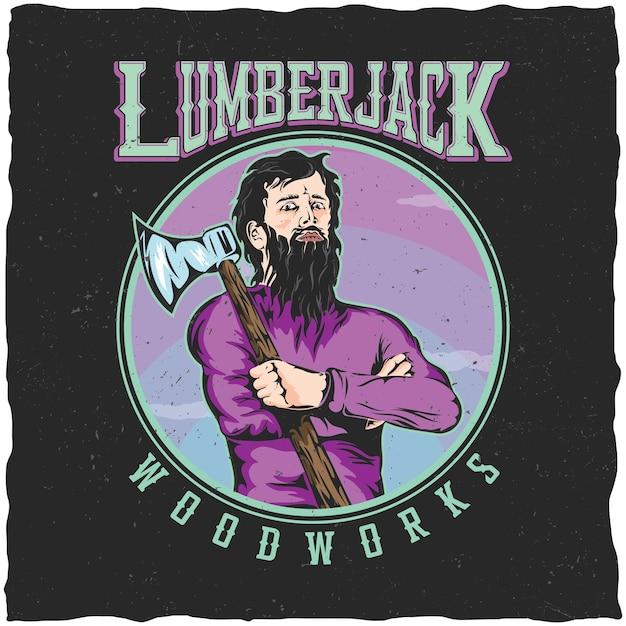 그의 어깨에 도끼를 가진 남자와 벌목꾼 woodworks 라벨 디자인 포스터 무료 벡터