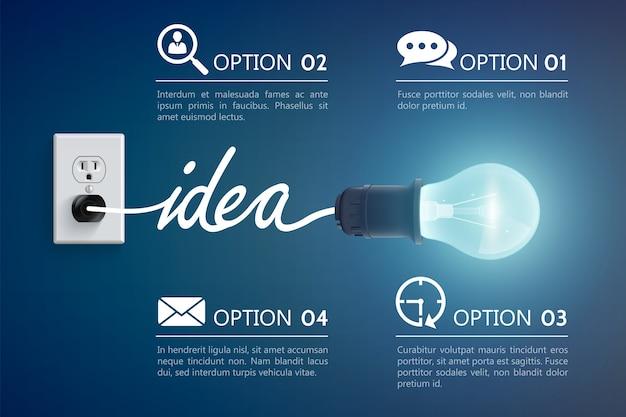 Концепция идеи люминесцентной лампы Бесплатные векторы