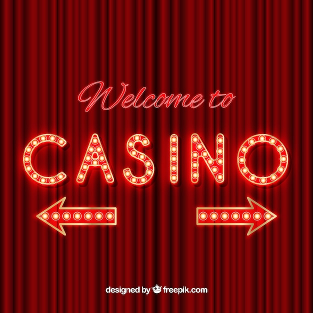 Luminous casino sign with arrows Free Vector
