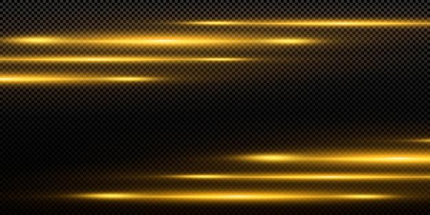 黒の背景、光の効果、黄金色の火花と明るいライン。 Premiumベクター
