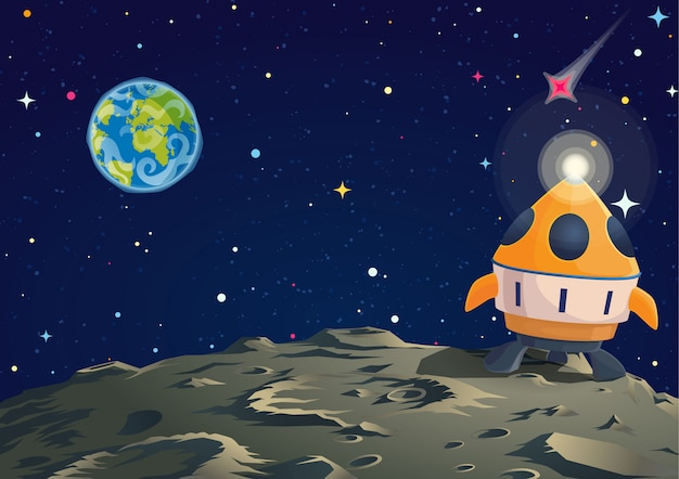 Lunar ground illustration with rocket and earth sight. Premium Vector