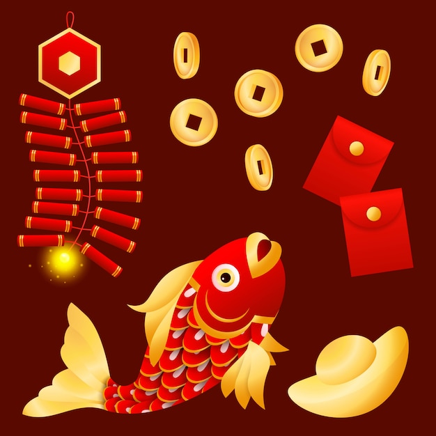 Lunar new year fish Free Vector