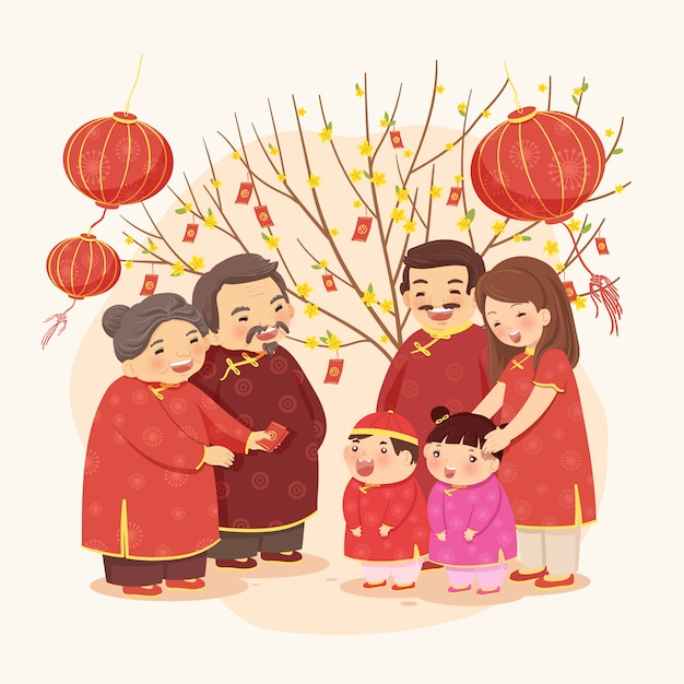 Lunar new year of a traditional family Premium Vector