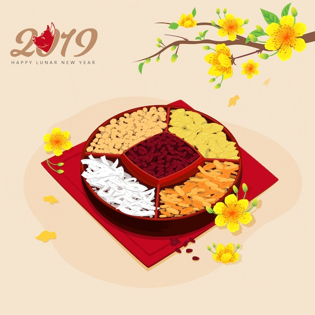 Lunar new year traditional food Premium Vector