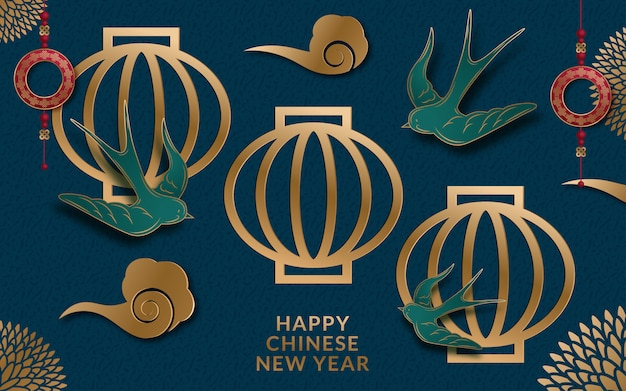 Lunar year banner with lantern and flowers in paper art style Premium Vector