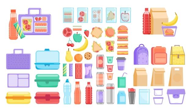 Коробка для ланча. школьный или офисный ланч-бокс и набор продуктов для быстрого приготовления фруктов, овощей, гамбургеров и напитков в бутылках. пластиковый контейнер, текстиль и одноразовый бумажный пакет Premium векторы