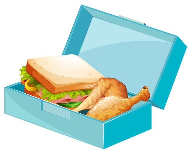Ланч-бокс с бутербродами и жареной курицей Бесплатные векторы