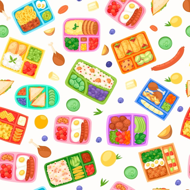 Lunch boxes with food seamless pattern Premium Vector