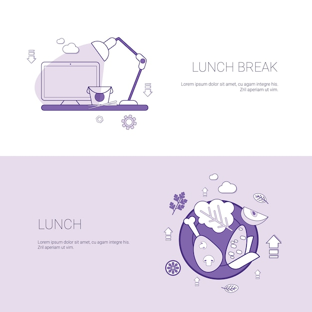 Lunch break concept template set web banner with copy space Premium Vector