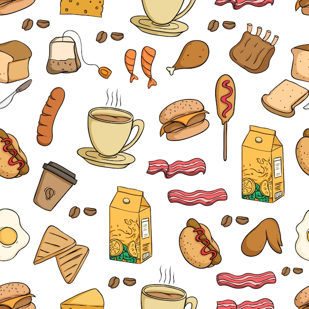 Lunch food seamless pattern Premium Vector