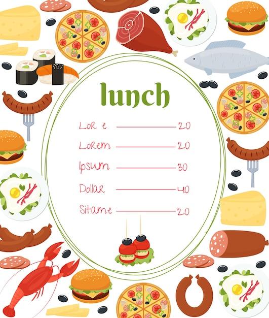 Шаблон меню обеда с центральной овальной рамкой и прайс-листом в окружении красочных омаров, рыбы, пиццы, колбасы, суши, яичницы, жареной ножки мяса, салями, сыра и чизбургера Бесплатные векторы