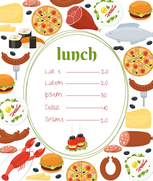 Lunch menu template with a central oval frame and price list surrounded by colorful lobster  fish  pizza  sausage  sushi  fried eggs  roast leg of meat  salami  cheese and cheeseburger Free Vector