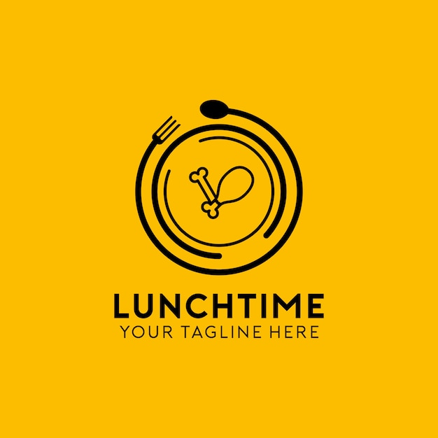 Lunch time logo Premium Vector