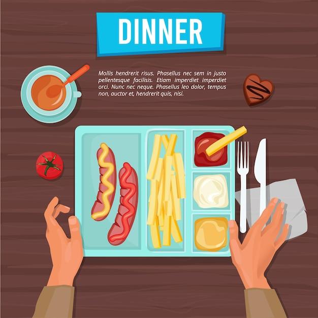 Обед сверху. школьный поднос с едой на столе, сортировка продуктов, еда, фрукты, закуски и напитки, школьник ест руками фотографии обеда. Premium векторы
