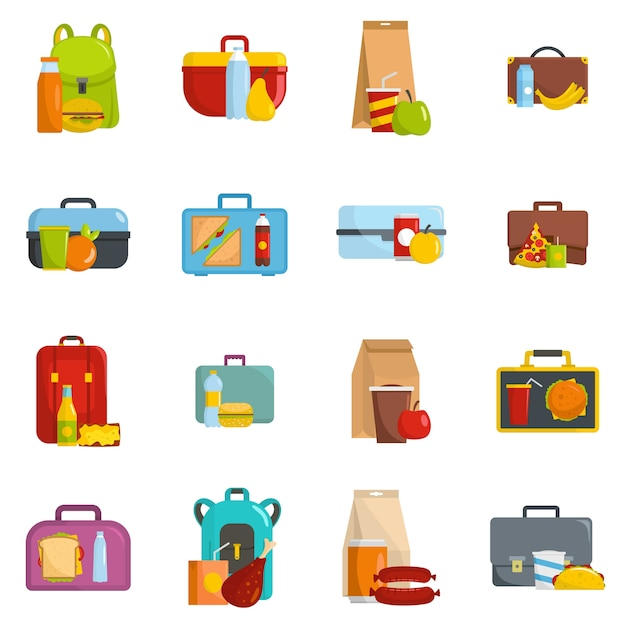 Lunchbox food icons set vector isolated Premium Vector