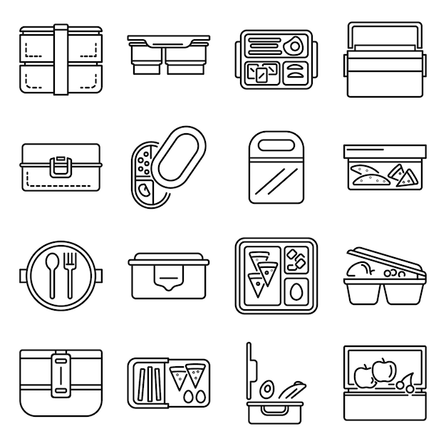 Lunchbox icon set. outline set of lunchbox vector icons Premium Vector
