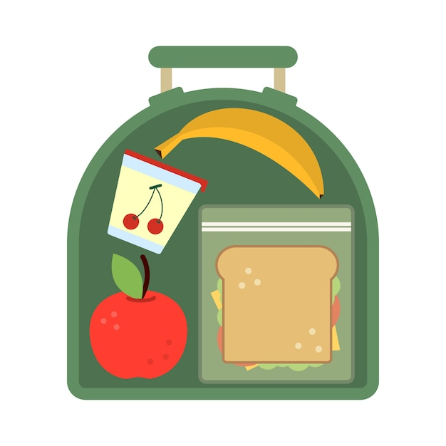 Lunchbox with food Premium Vector