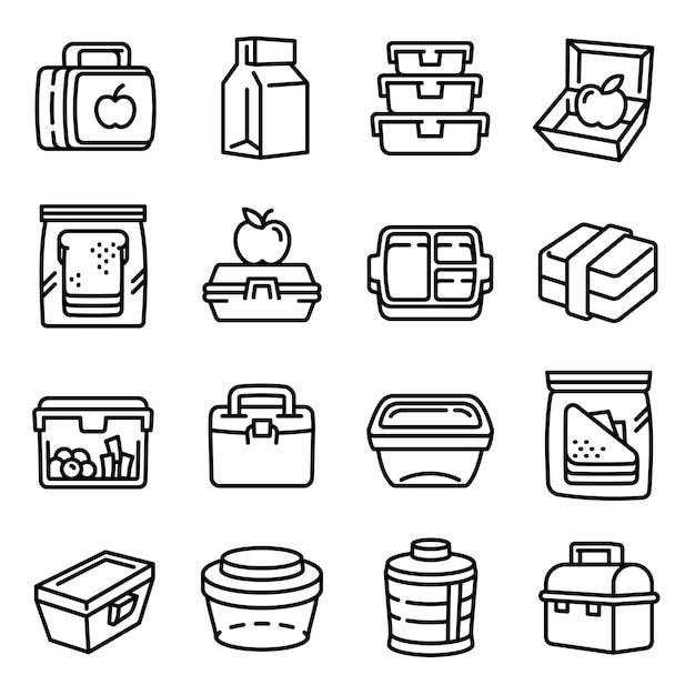 Набор иконок lunchbox, стиль контура Premium векторы