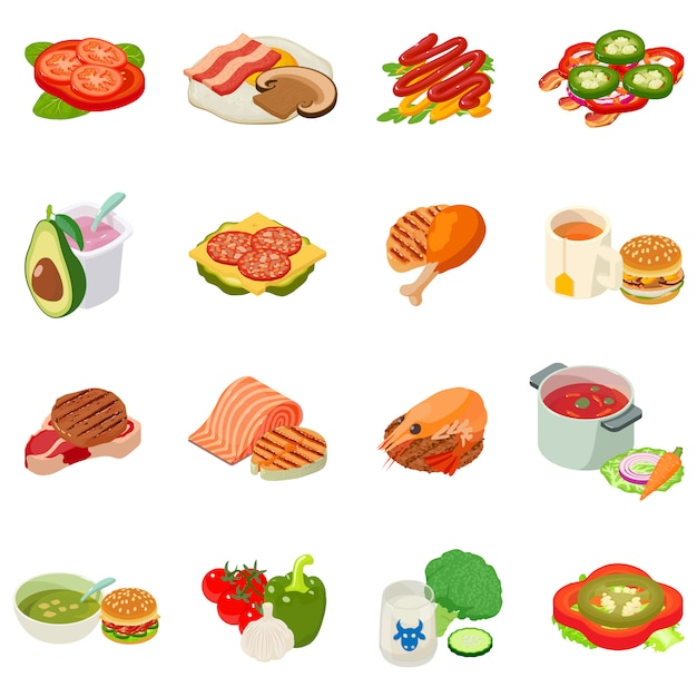 Lunchtime icon set Premium Vector