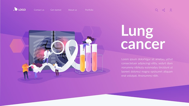 Lung cancer landing page template Free Vector