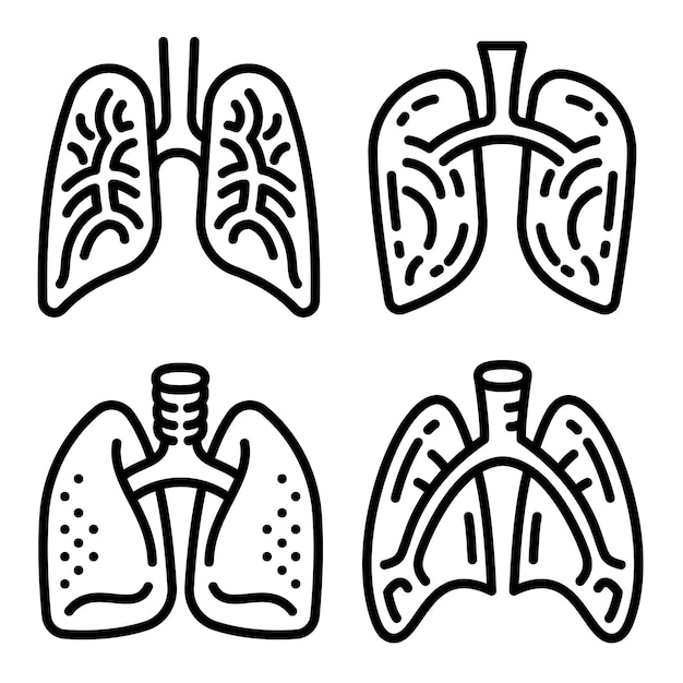 Lung icon set, outline style Premium Vector