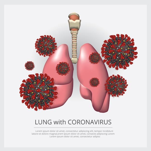 肺とコロナウイルス2019-ncovベクトル図 無料ベクター