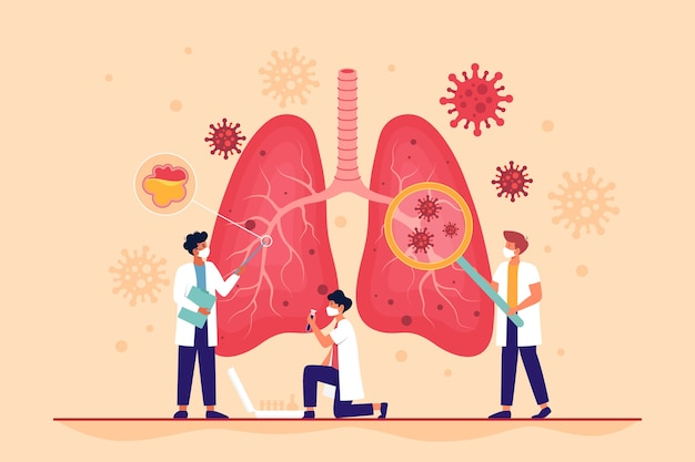 Lungs being affected by the coronavirus with pneumonia Free Vector