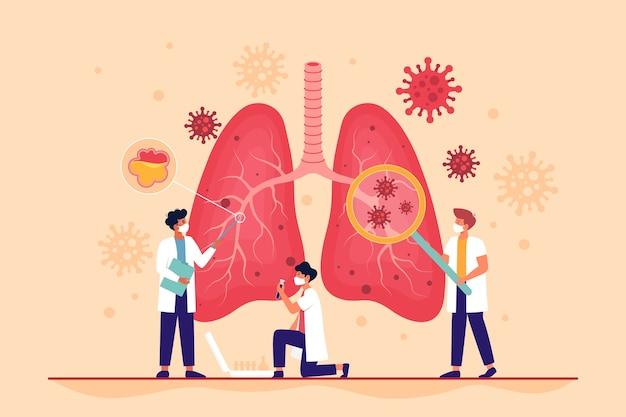 肺炎を伴うコロナウイルスの影響を受けている肺 Premiumベクター
