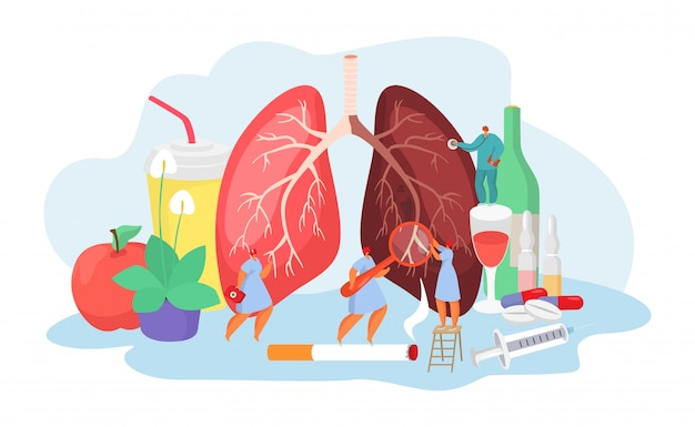 Lungs desease with doctors medical concept of pneumania illness diagnosis and treatment  illustration. Premium Vector