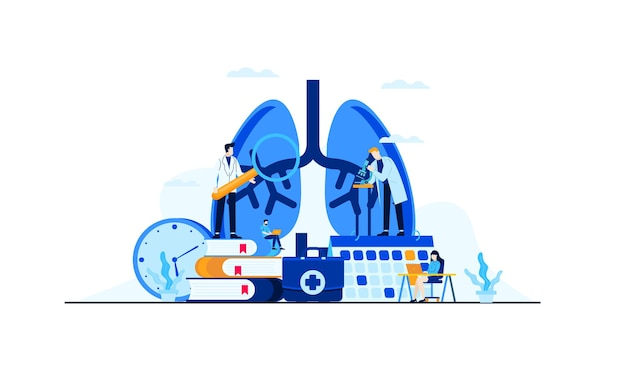 治療コンセプトデザインのための肺疾患フラットイラストレーション医師の研究 Premiumベクター