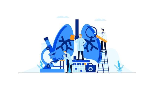 치료 개념 설계를위한 폐 질환 평면 그림 의사의 연구 프리미엄 벡터