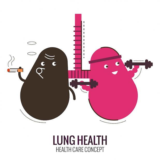 Lungs of a healthy person and smoker. danger of smoking. character thin line flat design. vector illustration Premium Vector
