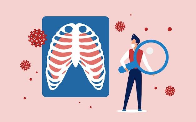 肺ウイルス細胞の医学的分析 Premiumベクター