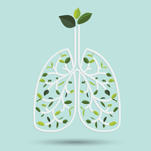 Lungs with green leaf Premium Vector