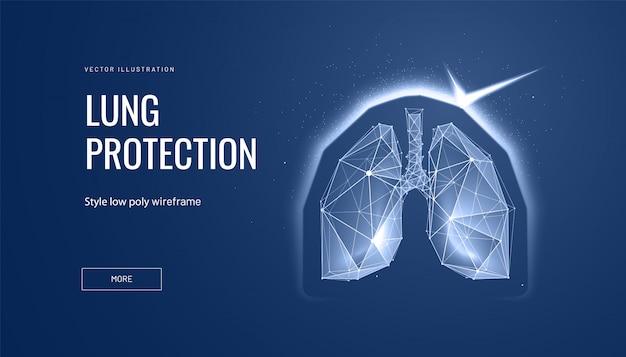 Легкие со щитом. концепция защиты бобышек и здорового человека Premium векторы