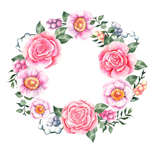 Luxuriant floral wreath in watercolor concept Free Vector