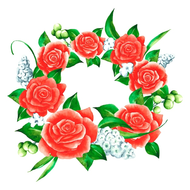 Luxuriant floral wreath in watercolor style Free Vector