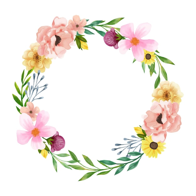 Luxuriant floral wreath in watercolor style Premium Vector