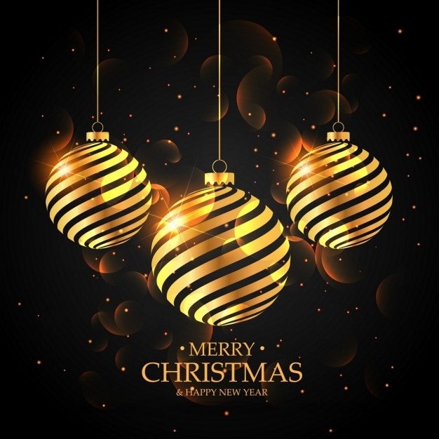 Luxurious background of golden christmas balls Free Vector