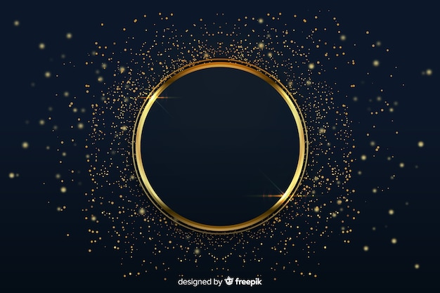 Luxurious background with golden ring Free Vector