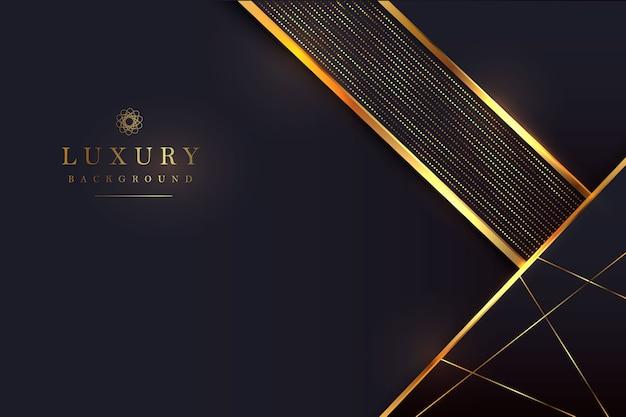 3dスタイルで輝くゴールドの組み合わせと豪華な黒の背景。グラフィックデザイン要素。 Premiumベクター