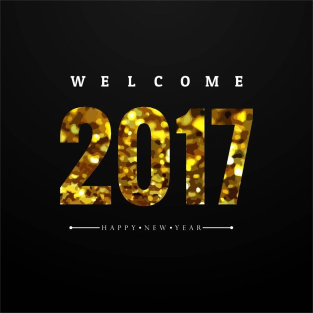 Luxurious black new year background with golden\ numbers