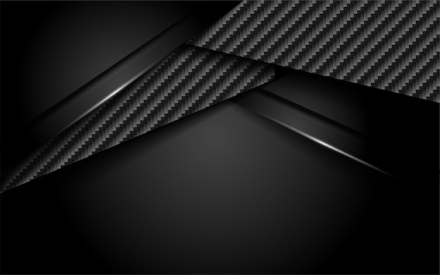 Luxurious dark carbon background with overlap layer Premium Vector