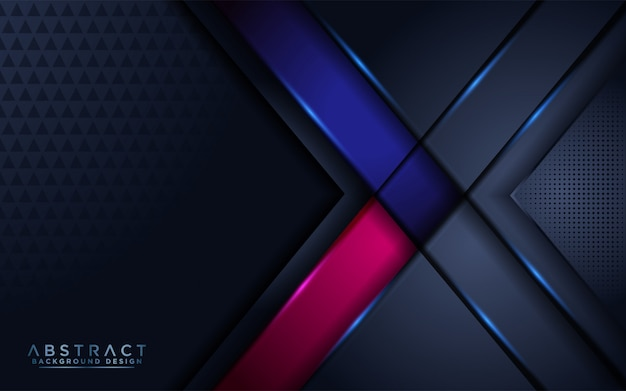 Luxurious dark navy background with blue and pink accent Premium Vector