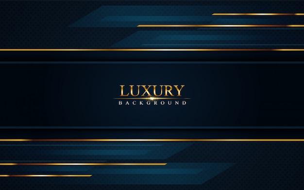 Luxurious dark navy blue background with golden lines Premium Vector